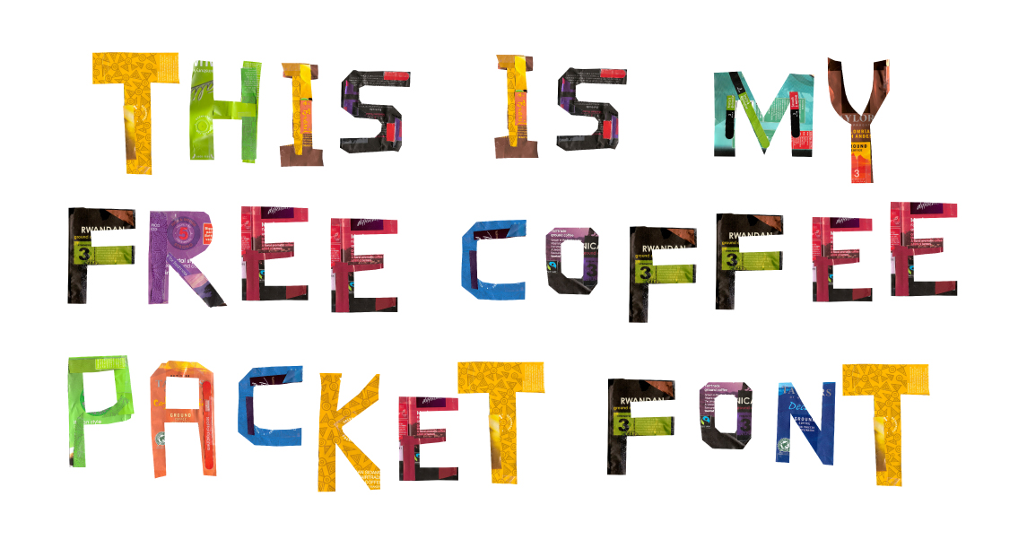 Coffee packet typography