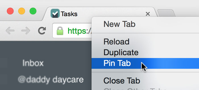 Pin a tab on Google Chrome